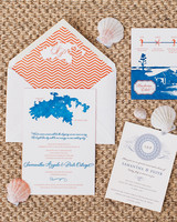 Blue and Orange Island Stationery