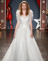 jenny packham wedding dress spring 2018 sequin ballgown tulle sleeves