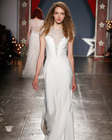 jenny packham wedding dress spring 2018 high neck embellished sheer bodice