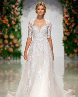 morilee madeline gardner wedding dress lace short-sleeve overlay