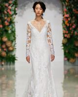 morilee madeline gardner wedding dress long-sleeved v-neck with lace overlay