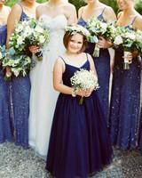 flower wearing sapphire blue dress