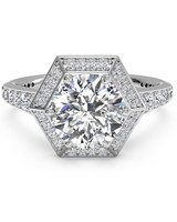 Ritani vintage engagement ring with hexagonal halo