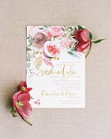 Gold Foil Accents and Calligraphy metallic and watercolor invitation
