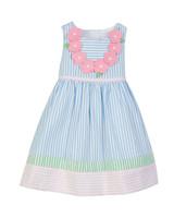 blue Color-Block Seersucker Dress