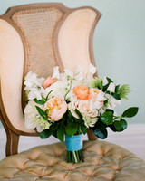 wedding bouquet in chair