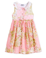summer flower girl dress pink lace collar pattern