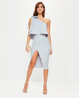 Missguided One Shoulder Bow Sleeve Midi Dress