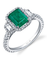 Slyvie Collection Emerald Engagement Ring