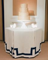 gold ringed wedding cake
