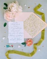 unique wedding color palettes blush pink yellow green invitation suite