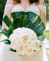 abbey jeffrey wedding bouquet white roses monstera