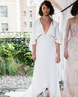 alexandra grecco wedding dress fall 2018 cape v neck three-quarter length sleeves