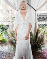 alexandra grecco wedding dress fall 2018 v-neck embellished sleeves capelet
