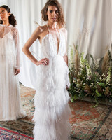 alexandra grecco wedding dress fall 2018 deep v neck halter feathers