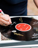 guest book record player signature