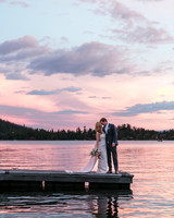 wedding couple sunset on lake