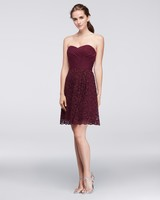 burgundy bridesmaid dress – David's Bridal – F19217