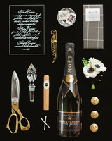 groom accessories with champagne bottle
