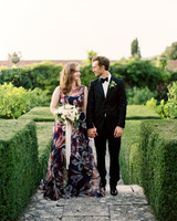 patterned wedding dress
