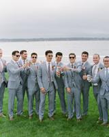 colleen stephen newport wedding groom with groomsmen drinking miller lite