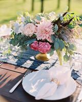 dahlia wedding centerpieces outdoor tablesetting