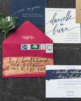 berry-and-blue wedding invitation