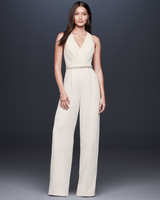 sleeveless jewel embellished belt wide leg jumpsuit wedding suit DB Studio Spring 2020