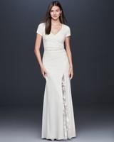 Short sleeve v-neck belted illusion side slit wedding dress DB Studio Spring 2020