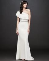 one-shoulder belted a-line wedding dress DB Studio Spring 2020