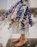 three color delphinium wedding bouquet