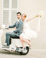 elopement outfit inspiration couple on moped