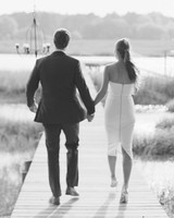 Black and White Engagement Photo of a Couple Walking