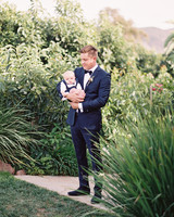 groom and young daughter portrait