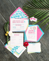 bright pink and blue tropic geometric wedding invitations