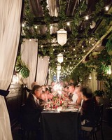 Hanging Lanterns and Greenery Garlands Over Reception Tables & 47 Hanging Wedding Décor Ideas | Martha Stewart Weddings
