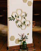 Honeycomb Wedding Inspiration, Honeycomb Pew Decorations at Ceremony