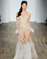 hayley paige fall 2018 sheer feather wedding dress