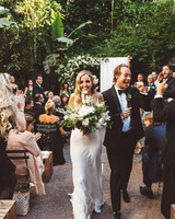 kaily matt wedding los angeles recessional with smiling couple