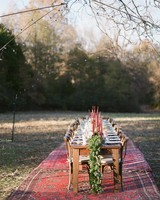 Long Wooden Thanksgiving Reception Table