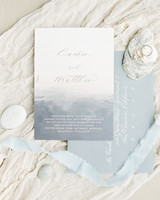 wedding invitation negative space ocean inspired