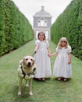 peony matthew england wedding flower girls and dog