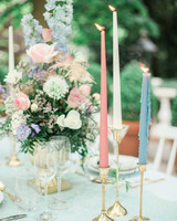 spring floral centerpiece with candles