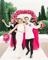 stephanie nikolaus wedding couple dancing down aisle