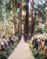 floral arrangement lined wedding aisle