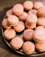 pink macarons with rose gold splatter