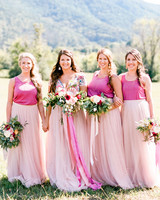 bridesmaids pink dresses