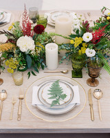 wedding table setting floral fern