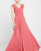 coral v neck floor length chiffon dress