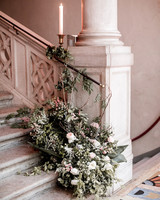 elle raymond venice wedding stairway floral decor